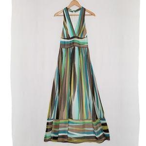Silk Halter Striped Maxi Dress Banana Republic